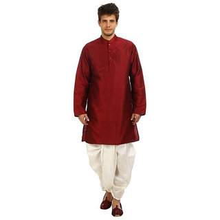Larwa Men's Maroon Relaxed Fit Ethnic Wear