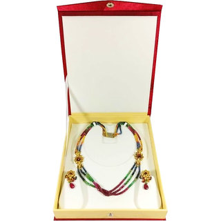 Atorakushon Multipurpose Necklace Earring bangle bracelet set half set box Jewelry Makeup Vanity Box (Maroon)