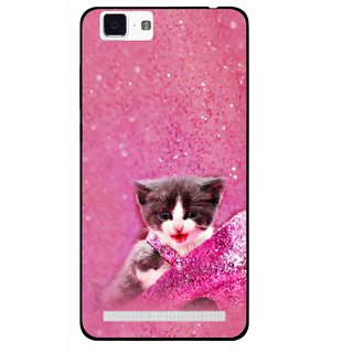 Snooky Printed Pink Cat Mobile Back Cover For Vivo X5 Max - Multi
