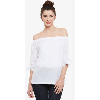172a5b474fd6c Buy Women S White Solid Bardot Neck 3 4 Sleeve Off Shoulder Top Online - Get  51% Off
