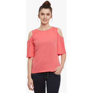 3ee23331f6f0e Buy Women S Pink Solid Round Neck Half Sleeve Cold Shoulder Top ...