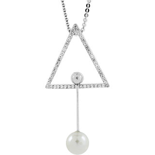 The Jewelbox Eternity Triangle Crystal Pearl CZ American Diamond Long Chain Necklace for Girls Women