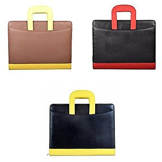 Resume Folders | Buy Coi Brown Yellow And Black Red Leatherette File Folder And