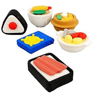 Coi 3D Food Sushii Stove Set Of Six Erasers For Kids