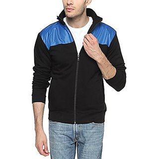 Campus Sutra Black and Royal Blue Mens cotton Jacket