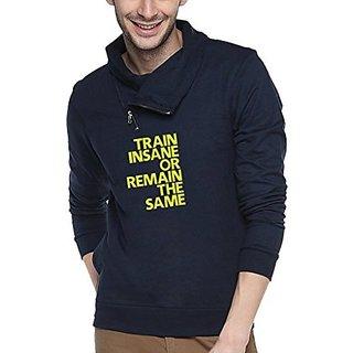 Campus Sutra Navy Blue Mens Shawl Neck Printed Sweatshirt
