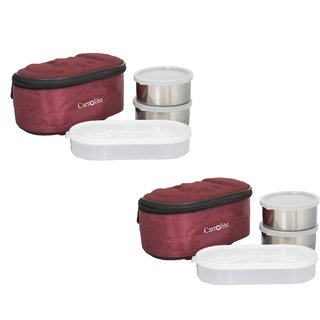 Combo Browny Maroon Lunchbox-4 Steel Container2 Plastic Chapati tray