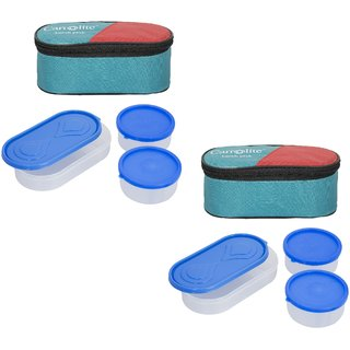 Set Of 2 Green Lunchbox-2 Plastic Container : 1 Plastic Chapati tray