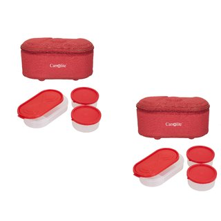 Set Of 2 Browny Red Lunchbox-2 Plastic Container : 1 Plastic Chapati tray