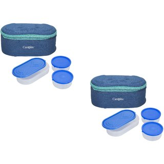 Set Of 2 Browny Blue Lunchbox-2 Plastic Container : 1 Plastic Chapati tray