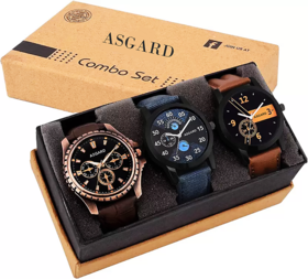 Asgard Black Round Dial Leather Strap Analog Watch For Men's Combo of 3