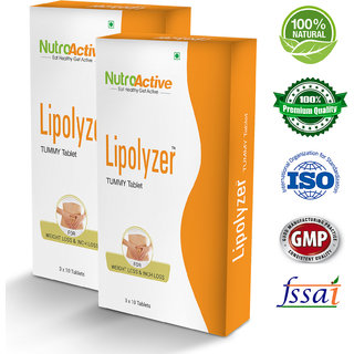 Nutroactive Lipolyzer Tummy Tablets (30) Fat Burner Weight Loss Product pack of 2