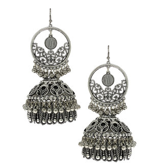 d2f72f70a7ecf Anuradha Art Stylish Jhumka Pattern Silver Finish Stylish Oxidised  Jhumki/Jhumkas Earrings For Women/Girls