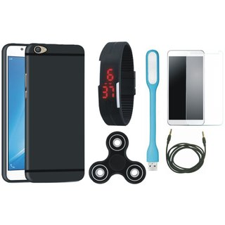 Motorola G5s Plus Silicon Slim Fit Back Cover with Free Spinner, Digital LED Watch, Tempered Glass, LED Light and AUX Cable