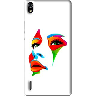 Snooky Printed Modern Girl Mobile Back Cover For Huawei Ascend P7 - Multi