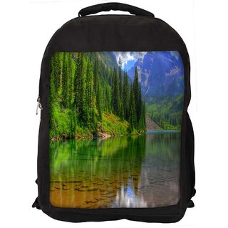 River And Christams Tree Digitally Printed Laptop Backpack