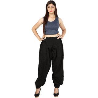 Boutique Ever Cotton Slub Black Color Solid Afghani Trouser