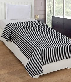Peponi Black and White Stripe Double Bed AC Fleece Blanket ( Size Double 90X90 Inch )
