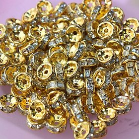 Fancy 8 mm gold stone  spacer bead for jewellery making , pack of 100 nos