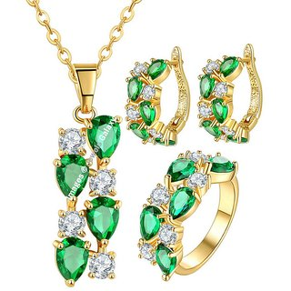Jewels Galaxy Exclusive 18K Rose Gold Plated Top Quality AAA Cubic Zirconia Green Pendant Earrings  Ring Set For