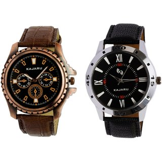 Kajaru KJR-1,10 Round Black Dial Analog Watch Combo for Men