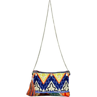 Blue  White Zig Zag Clutch
