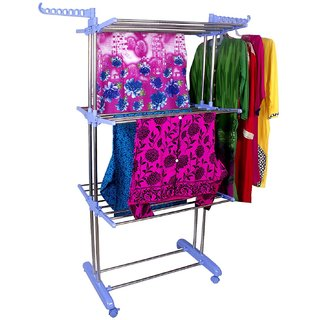 Double Pole Heavy Duty Stainless Steel Cloth Drying Rack / Stand/ Laundry Hanger