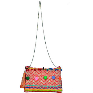 Orange Zig Zag  Ethnic Clutch
