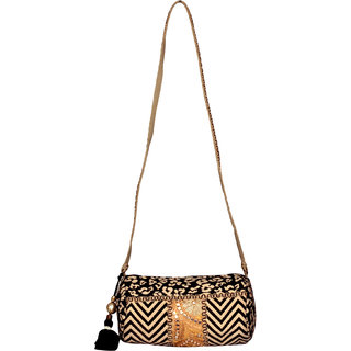 Golden  Black ethnic Clutch