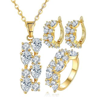 Jewels Galaxy Crystal Elements Glimmering 18K Rose Gold Plated Top Quality AAA Cubic Zirconia White Pendant Earrin