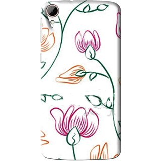 Snooky Printed Flower Sketch Mobile Back Cover For HTC Desire 828 - Multi
