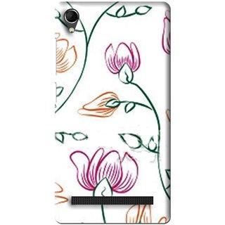 Snooky Printed Flower Sketch Mobile Back Cover For Intex Aqua Power Plus - Multi