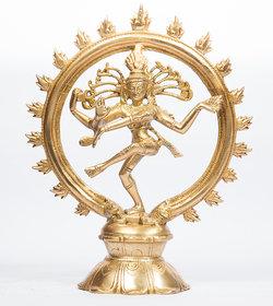 Arihant Craft Hindu God Shiva Idol Natraj statue Tandav Sculpture Hand Crafted Showpiece  24 cm (Brass, Gold)