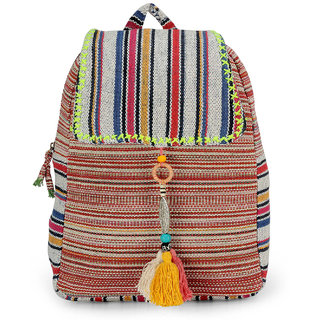 The House of Tara Handloom Fabric Stylish Everyday Backpack HTBP 115