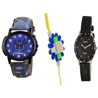 Crazeis Combo Of Boy And Girl Watch With Beautiful Rakhi