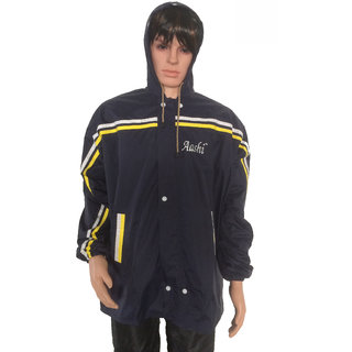 AASHI Navy Blue And Yellow Hypora Hooded Rain Jacket For Men(JS-305)