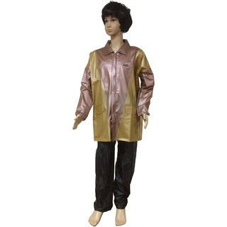AASHI Brown And Golden Titan Pearl Hooded Rainwear For Men(BS-89)