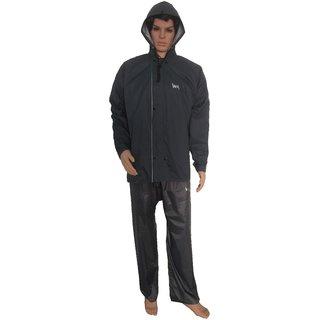 LAWMAN Grey NR Rain Suit For Men With Hood And Front Zip (LGT-207)