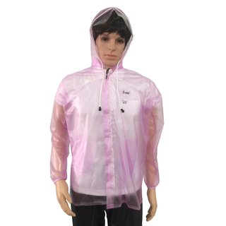A-ONE Pink Natural Khadi Rain Jacket For Men With Hood And Front Zip (SPS-201)