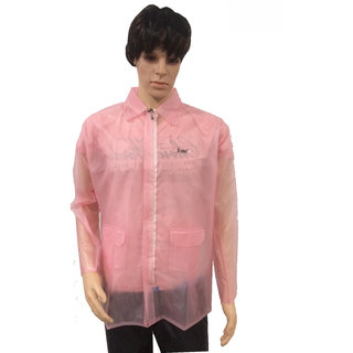 A-ONE Pink Tiktok Rain Jacket For Men With Front Zipper Opening  (AJS-82)