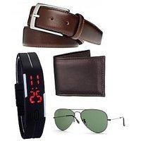 Home Fluent Combo Of Wallet + Belt + Sunglas + Led Watch For Men