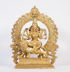 Arihant Craft Hindu Goddess Durga Idol Maa Sherawali statue Maa Kali Sculpture Hand Work Showpiece  36 cm (Brass, Gold)