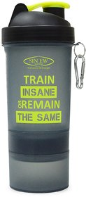 Sinew Nutrition All In One Smart Shaker Bottle 600ml - 20 oz (Black/Neon Green)