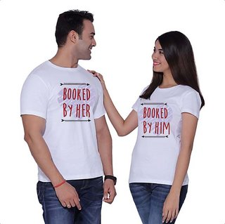 White Round Neck Booked Couple T-shirt