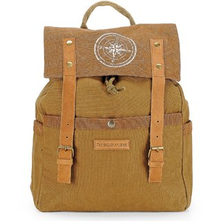 The House of Tara Dual Tone Canvas Backpack (Khaki) HTBP 132