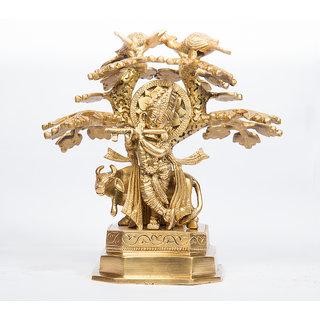 Arihant Craft Hindu God Krishna Idol Kanha Statue  Kanahiya Sculpture Hand Craft Showpiece  22.5 cm (Brass, Gold)