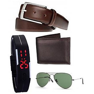 Home Fluent Combo Of Wallet + Belt + Sunglas + Led Watch For Men