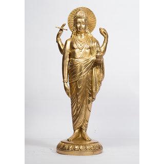 Arihant craft Hindu God Narayan Idol Lord Vishnu Statue Sculpture Hand Made Showpiece  32 cm (Brass, Gold)