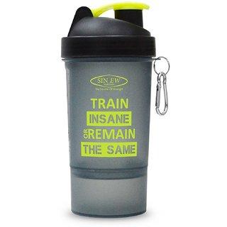Sinew Nutrition Smart Shaker Bottle 600ml - 20 oz (Black/Neon Green)