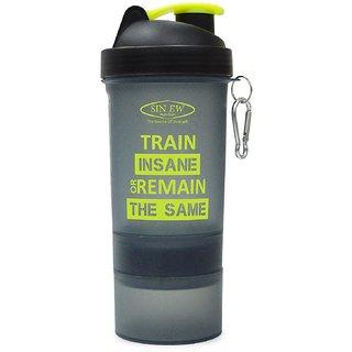 Sinew Nutrition All In One Smart Shaker Bottle 600ml - 20 oz (Black/Neon Green)